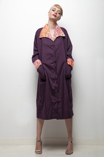 art smock dress vintage 1970s plus size oversize pocketed eggplant purple duster muumuu floral trim XL 1X 2X
