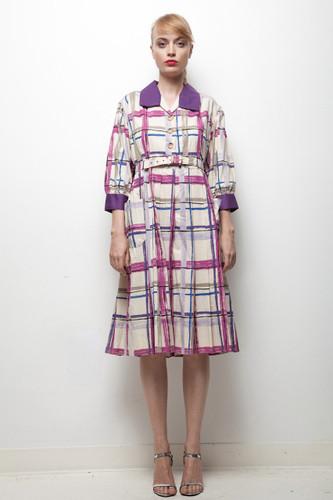 70s oversized vintage artist pocket shirt dress purple abstract plaid XLARGE XL