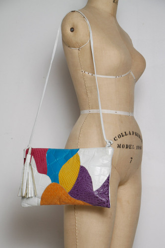 Vintage 80s Leather White Colorful Sling Bag Clutch Convertible Alligator Embossed