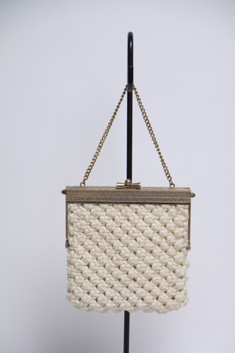 Filigree macrame ivory crochet clutch small metal chain purse vintage