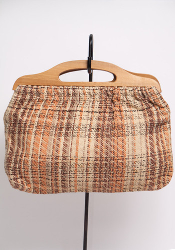 small brown handbag 70s woven lined clutch purse bag wooden handles