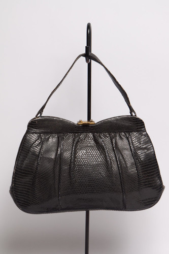 vintage 60s black lizard skin bag handbag petal purse metal clasp