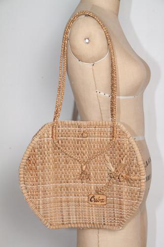 vintage jute straw Cuba souvenir tourist market bag