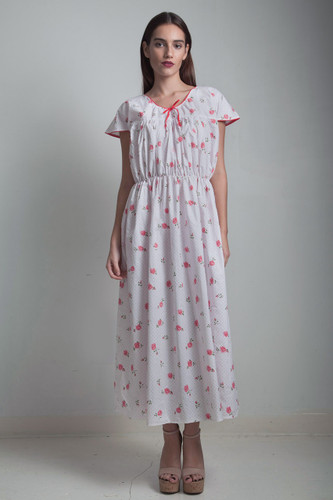 1970s white pink floral polka dot day dress elastic waist ONE SIZE plus size 1X