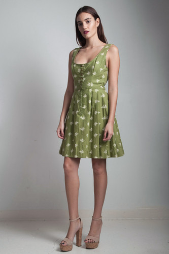 vintage 50s German Dirndl pleated folk dress olive green floral cotton scoop neck SMALL S
