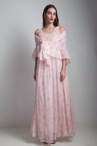 sheer gauzy boho cotton dress 1970s pink floral empire maxi smocked matching shawl ONE SIZE S M L