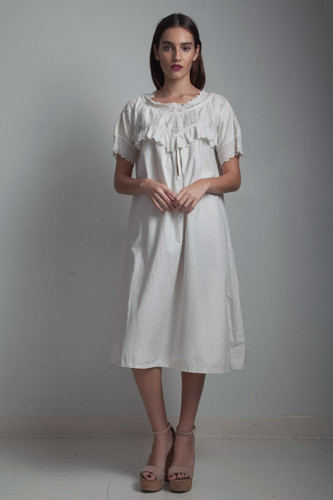 antique heavy cotton nightgown night dress ruffled eyelet embroidery oversize ONE SIZE XL