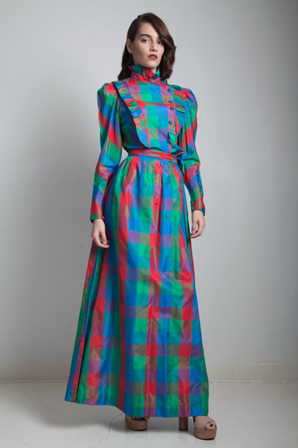 1970s victorian inspired high ruffled neck colorful shiny plaid maxi skirt blouse SMALL S