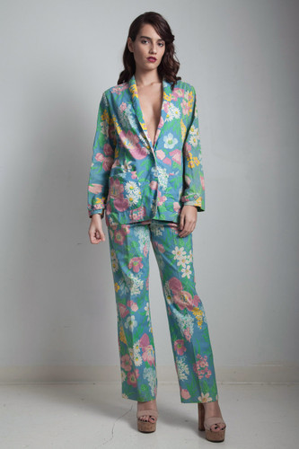 70s vintage floral pant suit blue pink two piece matching blazer jacket set MEDIUM M