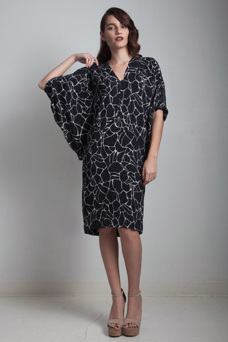 batwing sleeve silk dress vintage 80s black abstract animal print S M small medium