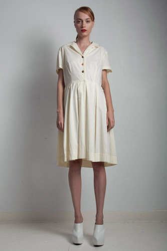 50s cotton day dress pleated vintage shirtdress short sleeves pale yellow LARGE L
