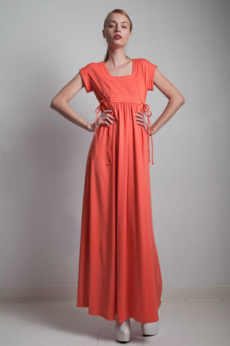 maxi dress coral orange vintage 70s empire waist side ties MEDIUM M