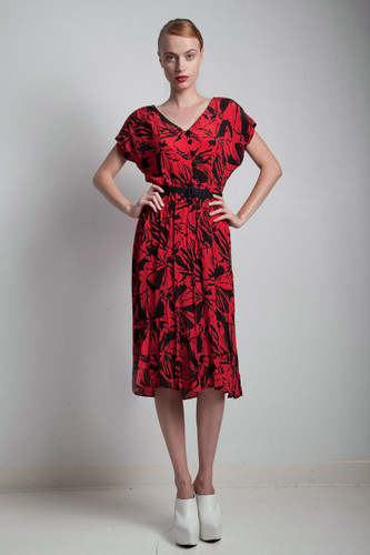 80s vintage red black floral printed dress dropped shoulder belted MEDIUM LARGE M L