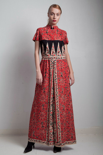 70s vintage cotton maxi dress asian inspired mandarin red black oriental MEDIUM LARGE M L