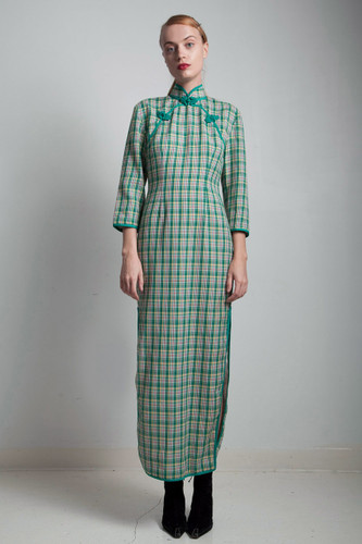 70s vintage Cheongsam mandarin green plaid Chinese maxi dress SMALL S
