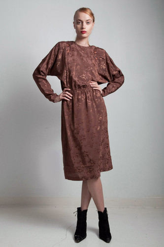 80s vintage brown silky damask batwing sleeve dress paint splatter SMALL S