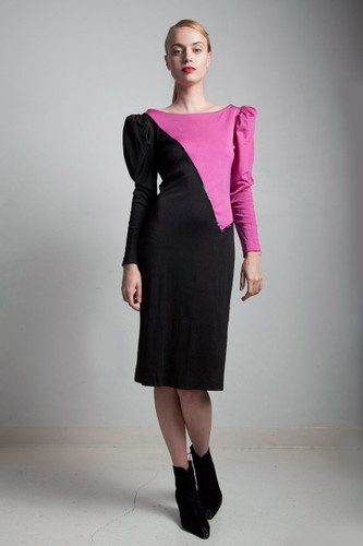 80s vintage black fuschia purple color block sequin body con cocktail dress SMALL S
