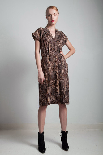 70s vintage brown paisley cotton sleeveless pocket shirtdress MEDIUM LARGE M L