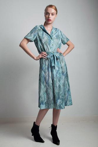 green printed shirt dress 70s vintage mandarin collar short sleeve belt tie abstract print LARGE L