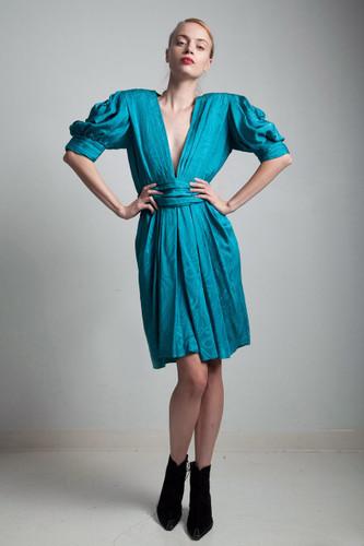 deep plunging v neck silk dress damask teal blue 80s vintage puffed shoulder draped balloon sleeves MEDIUM M