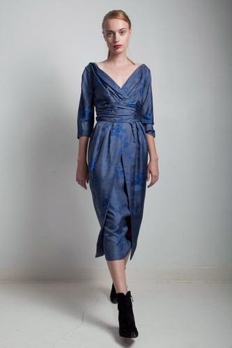 vintage 50s wiggle dress cummerbund tulip overskirt pleated SMALL MEDIUM S M
