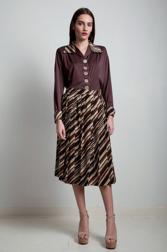 40s style vintage 70s pleated skirt top 2-piece matching set long sleeves midi brown striped slinky MEDIUM LARGE M L