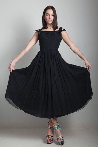 50s black party dress flowy vintage tea length pleated full skirt off the shoulder SMALL S