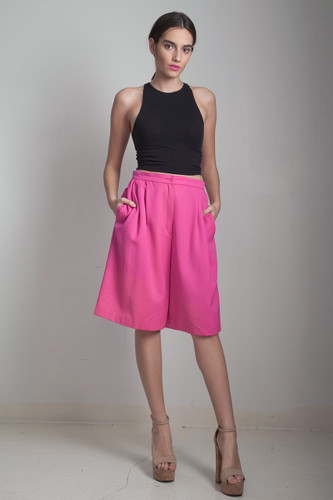 culotte shorts neon pink pleated vintage 80s pockets knee length MEDIUM LARGE M L