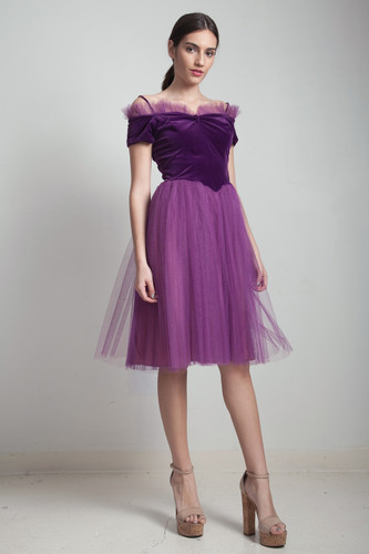 1950s petite vintage ballerina cocktail party prom dress purple velvet tulle SMALL S