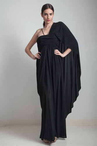 70s vintage black maxi Grecian goddess draped gathered knit dress asymmetrical cape SMALL S