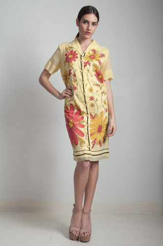 60s vintage yellow floral shirt dress short sleeve painted flower MEDIUM LARGE M L