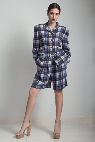 culotte shorts set preppy high waisted 80s vintage 2 piece silk jacket blue plaid MEDIUM M