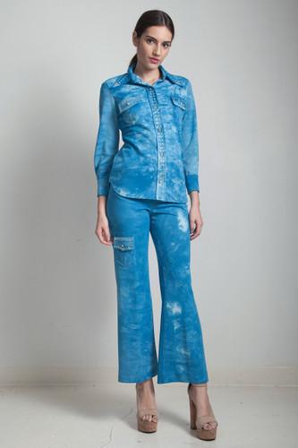 petite vintage 80s western tie dye rhinestone pants suit sky blue SMALL S