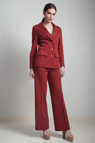 vintage 70s pant suit stretchy knit leisure set brick brown long sleeves MEDIUM M
