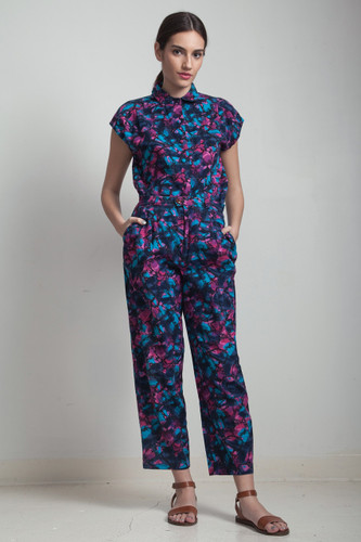 vintage 80s does 50s high waist pants set short sleeve shirt outfit abstract print blue pink MEDIUM M