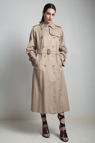 Burberry trench coat Burberrrys khaki classic plaid lining vintage designer belted M L MEDIUM LARGE