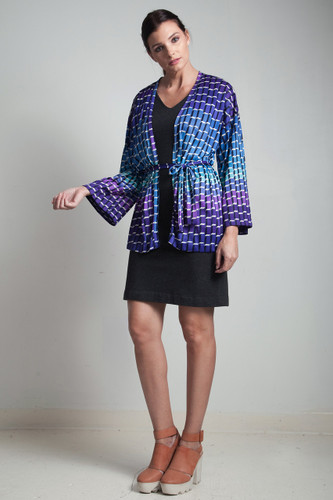70s vintage op art kimono top geometric belted purple blue ONE SIZE S M L