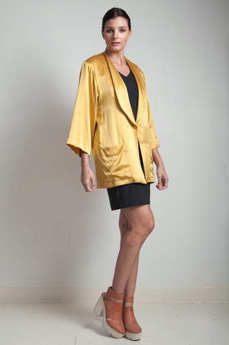 80s vintage silk yellow mustard gold flowy jacket top LARGE L
