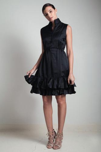 60s vintage LBD little black dress tiered ruffle hem sleeveless buttons high collar MEDIUM M