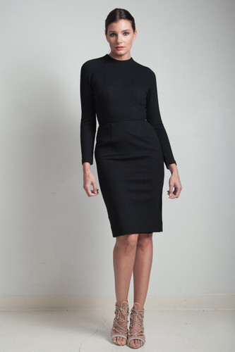 50s vintage LBD wool wiggle little black dress funnel neck knee length long sleeve MEDIUM M