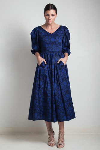 80s vintage Laura Ashley dress cotton floral print black blue v-neck half puff sleeves SMALL S