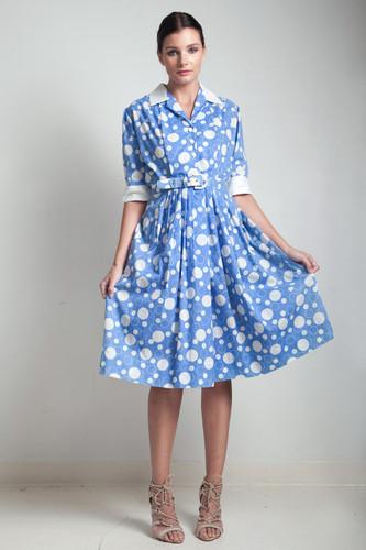70s vintage shirtwaist dress blue white bubble print cotton belted short sleeves MEDIUM M