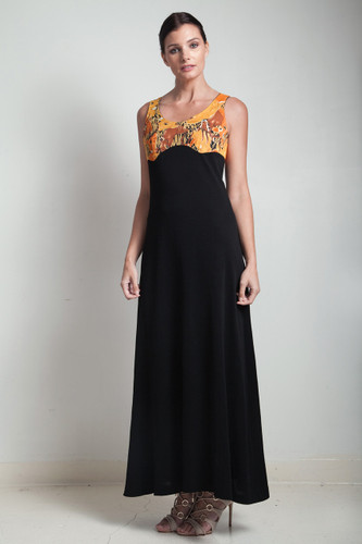 70s vintage maxi black dress empire waist safari animal print MEDIUM M
