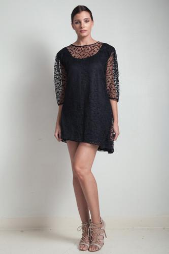 60s vintage black asymmetrical mini dress lace overlay LARGE L