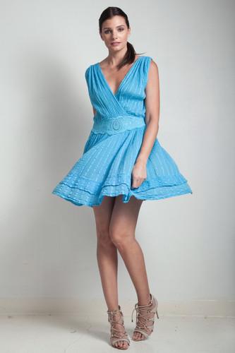 70s vintage blue dress crinkle cotton deep plunging v-neck smocked waist ONE SIZE S M L