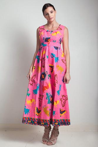 70s Hawaiian maxi dress vintage neon pink Aztec print 100% cotton sleeveless  belted empire waist  SMALL MEDIUM S M