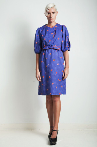 vintage 70s secretary dress blue floral polka dot bow belt MEDIUM M