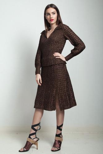 vintage 40s brown macrame dress slit long sleeves LARGE L