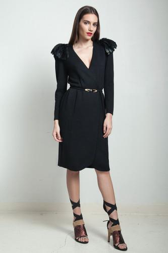 vintage 80s St. John black sweater wrap dress v neck feather epaulette cape belted LARGE PLUS SIZE XL 1X