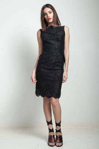 vintage 60s mod black sheath dress floral lace overlay ruffled back SMALL S